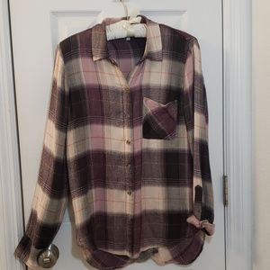 Lucky Brand Plaid Purple Button Down Soft Shirt